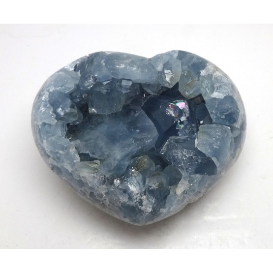 Celestite Heart with Deep Blue Crystals and Rainbow