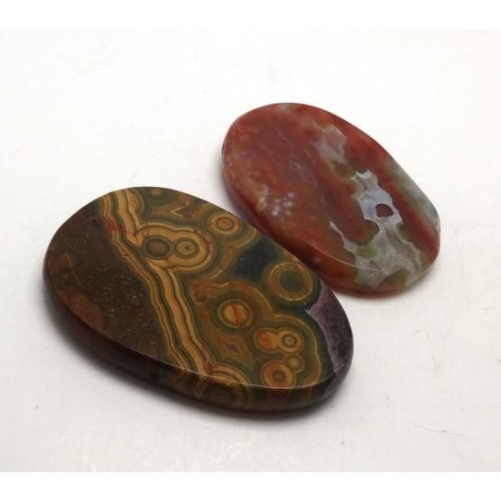 Set of 2 Ocean Jasper Thin Discs