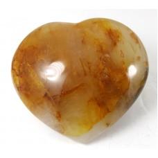 Golden Healer Quartz Patterned Polished Heart