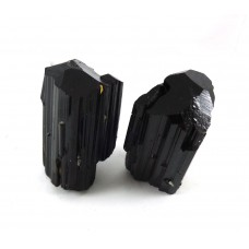 Natural Black Tourmaline Prism Crystal Pair